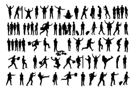big figure: Collage of silhouette business people doing various activities over white background.  Illustration