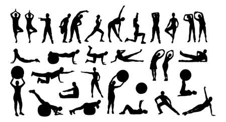 Collage of silhouette people performing various exercises over white background. Illustration