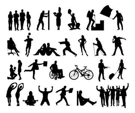 exercise silhouette: Collage of silhouette people doing various activities over white background.