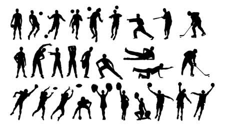 Collage of silhouette cheerleaders and sportsmen isolated over white background.  Ilustração