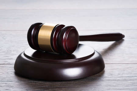 legal court: Gavel on the table in legal and justice concept Stock Photo