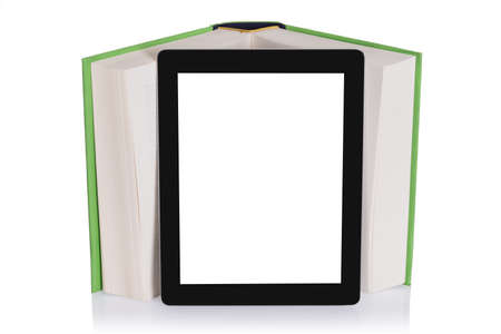 Education with tablet. Isolated on white background photo