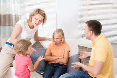 angry: Angry Upset Family Having Argument At Home