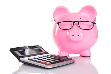 Piggybank and calculator. Isolated on white background Stok Fotoğraf