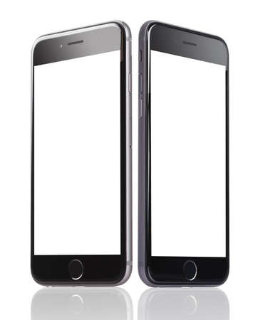 Berlin; Germany - October 10; 2014: Apple iPhone 6 with blank screens displayed against white background. Apple iPhone6 was launched on September 19; 2014