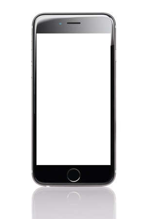 Berlin; Germany - October 10; 2014: Apple iPhone 6 with blank screen isolated against white background. Apple iPhone 6 was launched on September 19; 2014