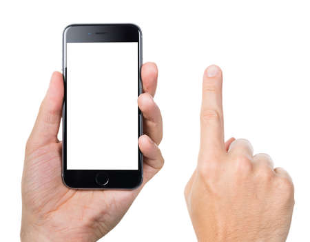 mans: Berlin; Germany - October 10; 2014: Cropped image of mans hand gesturing while holding Apple iPhone 6 with blank screen against white background. Apple iPhone6 was launched on September 19; 2014