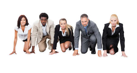 starting line: Portrait of determined multiethnic businesspeople ready to race against white background