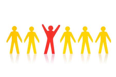 cooperativismo: Paperman rojo acertado que se coloca con el equipo amarillo sobre fondo blanco aisladas Foto de archivo
