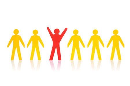 cooperative: Successful red paperman standing with yellow team isolated over white background Stock Photo