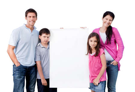 Portrait of happy family holding blank banner isolated over white background
