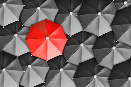 Directly above shot of red umbrella surrounded by black ones photo