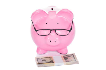 coinbank: Piggybank with dollar bundle isolated over white background