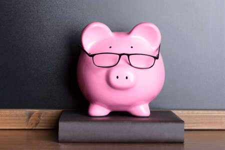 Pink Piggy Bank With Eye Glasses On Book Near Blackboard Stock Photo