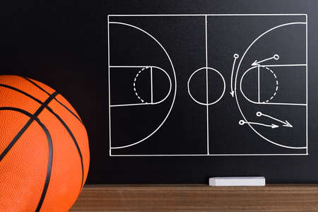 international basketball: Basketball Play Strategy Drawn Out On A Chalk Board With Ball