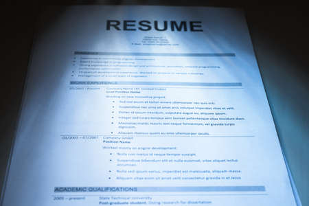 Close-up Of Photo Printed Modern Resume Form photo