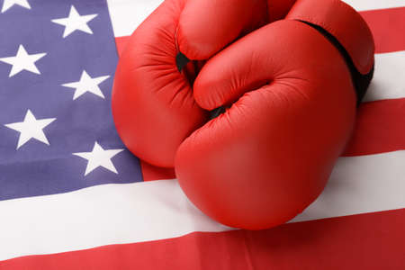 winning flag: A Pair Of Boxing Gloves On American Flag