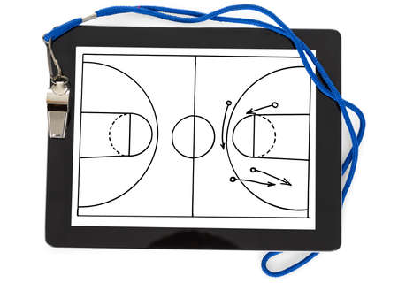 arbitrator: Soccer Tactic Diagram And Whistle On Digital Tablet Isolated Over White Background Stock Photo