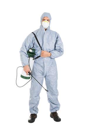 protective workwear: Pest Control Worker In Protective Workwear With Pesticides Sprayer Over White Background