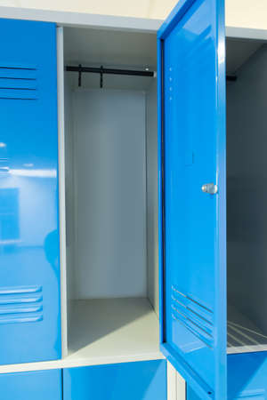 Photo Blue Open Lockers In The Room