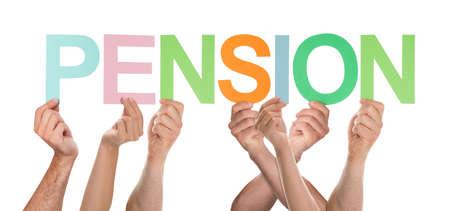 alzando la mano: Grupo de manos que sostienen Carta Pension Aislado Sobre Fondo Blanco Foto de archivo