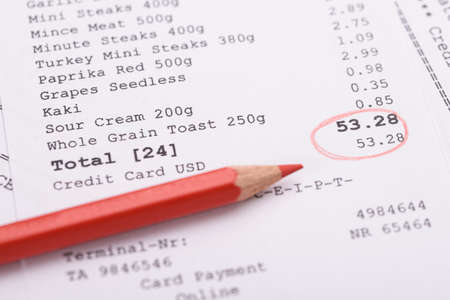 cash receipt: Close-up Of Generic Receipt With Total And Red Marking Stock Photo
