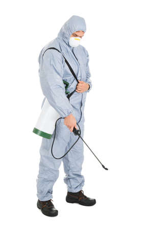 Pest Control Worker In Protective Workwear With Pesticides Sprayer Over White Background