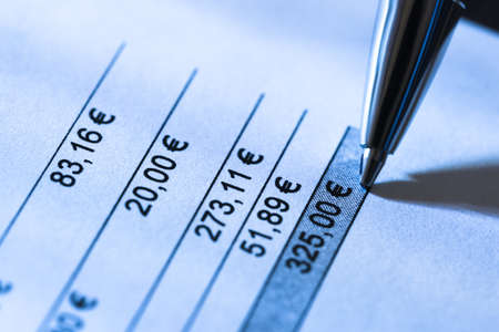 bank records: Close-up Of Pen On Total Amount Due In Invoice