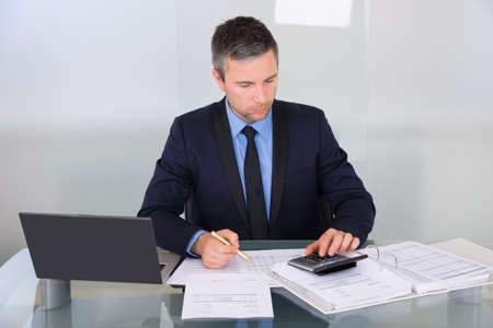 Portrait Of A Businessman Calculating Finance In Office