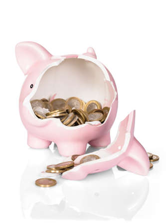 Broken Piggy Bank With Money Over White Background Stock Photo