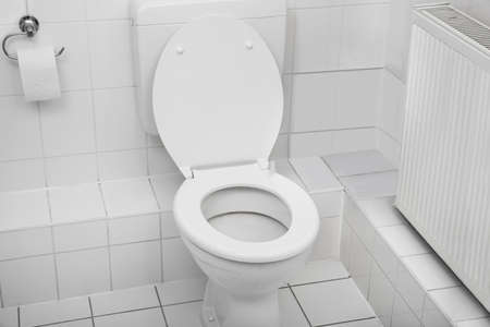 inodoro: Blanca Toilet Bowl en un lugar limpio Baño Higiene