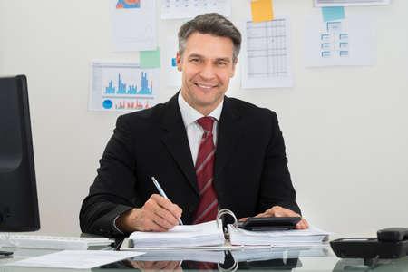 mature businessman: Portrait Of Happy Mature Businessman Working At Office Stock Photo