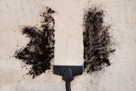 High Angle View Of Vacuum Cleaner Cleaning Dirt On Carpet Stockfoto