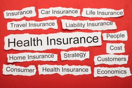 keywords: Health Insurance Text On Piece Of Paper Salient Among Other Related Keywords Stock Photo