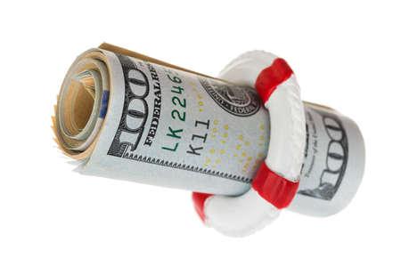 life belt: Life Belt Protecting Dollar Banknote Over White Background