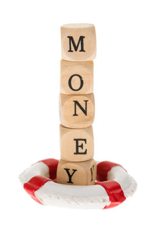life belt: Word Money On Wooden Pieces In Life Belt Over White Background Stock Photo