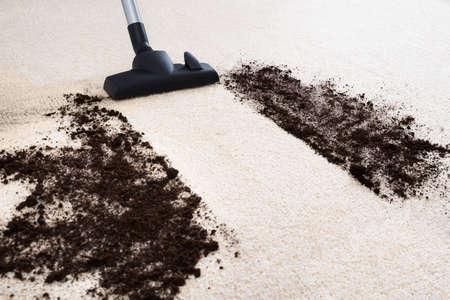カーペットの汚れを掃除する掃除機の写真 写真素材