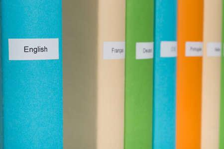 linguistics: Close-up Of Blue English Language Book Stock Photo