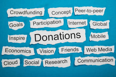 salient: Word Donations On Piece Of Paper Salient Among Other Related Keywords