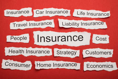 keywords: Word Insurance On Piece Of Paper Salient Among Other Related Keywords Stock Photo