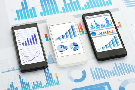 analytics: Mobile Phones With  Analytics Graphs And Charts
