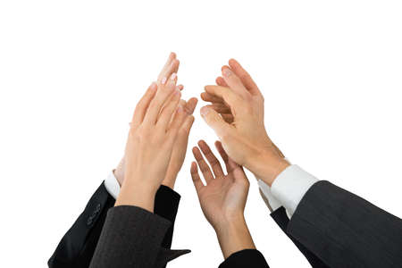 hands high: Group Of Businesspeople Giving High-five Over White Background