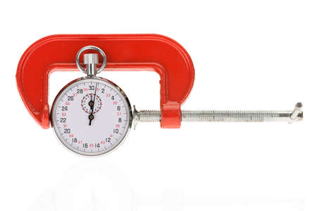 clamps: Orange Clamp Holding Stopwatch Over White Background