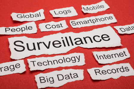 salient: Word Surveillance On Piece Of Paper Salient Among Other Related Keywords Stock Photo