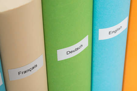 Close-up Of German; English And French Language Books photo