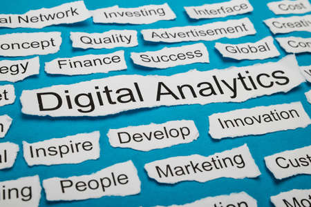 salient: Word Digital Analytics On Piece Of Paper Salient Among Other Related Keywords Stock Photo