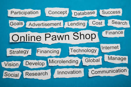 loaning: Online Pawn Shop Text On Piece Of Paper Salient Among Other Related Keywords