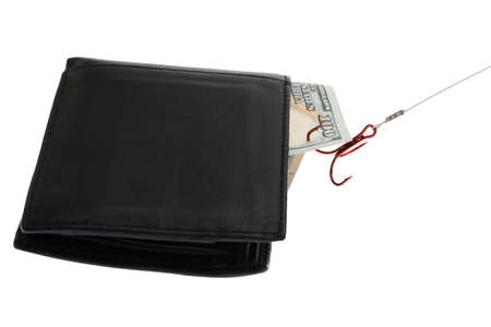 fish hook: Fish Hook Attached On Banknote In Wallet