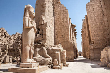 colossal: Colossal Statue Of Pharaoh At Karnak Temple, Luxor, Egypt Stock Photo
