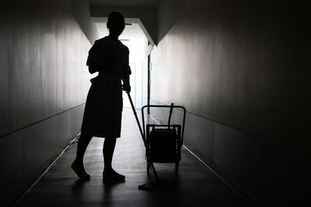 brooming: Silhouette Of Female Maid With Mop Cleaning Floor Of Hall Stock Photo